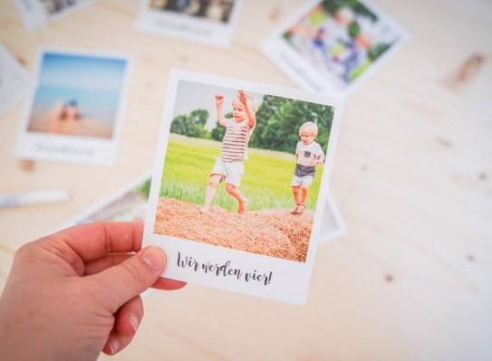 Bastelidee für eine Einladung zum Kindergeburtstag aus Retro Polaroid Fotos von der Kartenmacherei | Ichsowirso.de