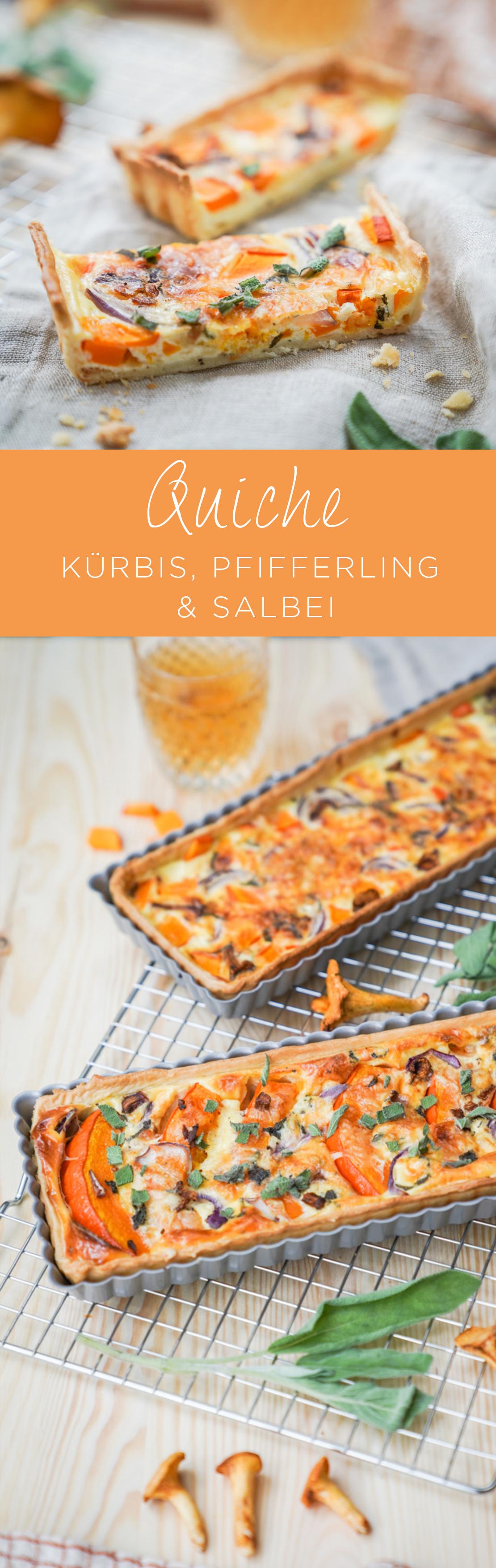 Herbst Quiche als Kürbisquiche mit Pfifferlingen und Salbei. Ein schnelles und einfaches Quiche Rezept findet ihr jetzt auf dem Blog | Ichsowirso.de