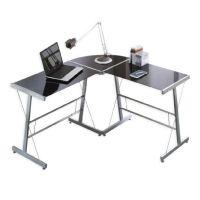 Schreibtisch-Winkelkombination alufarbe/Glas schwarz, 99 ...