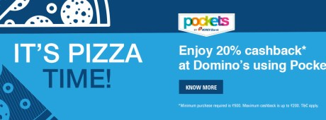 Buy Pizzas At 25% Off On Order Of Rs 350 Or Get Rs 100 Off On Rs 400 Or More + Extra 20% Cashback At Dominos