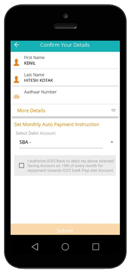 icici paylater account details from pockets app