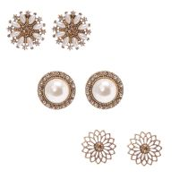 Floral Gold Tone & Faux Pearl Oversized Stud Earrings ...