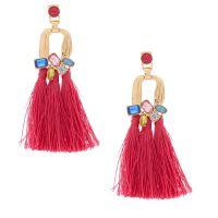 "Gold 3"" Jewel Tone Tassel Drop Earrings - Pink | Icing US"