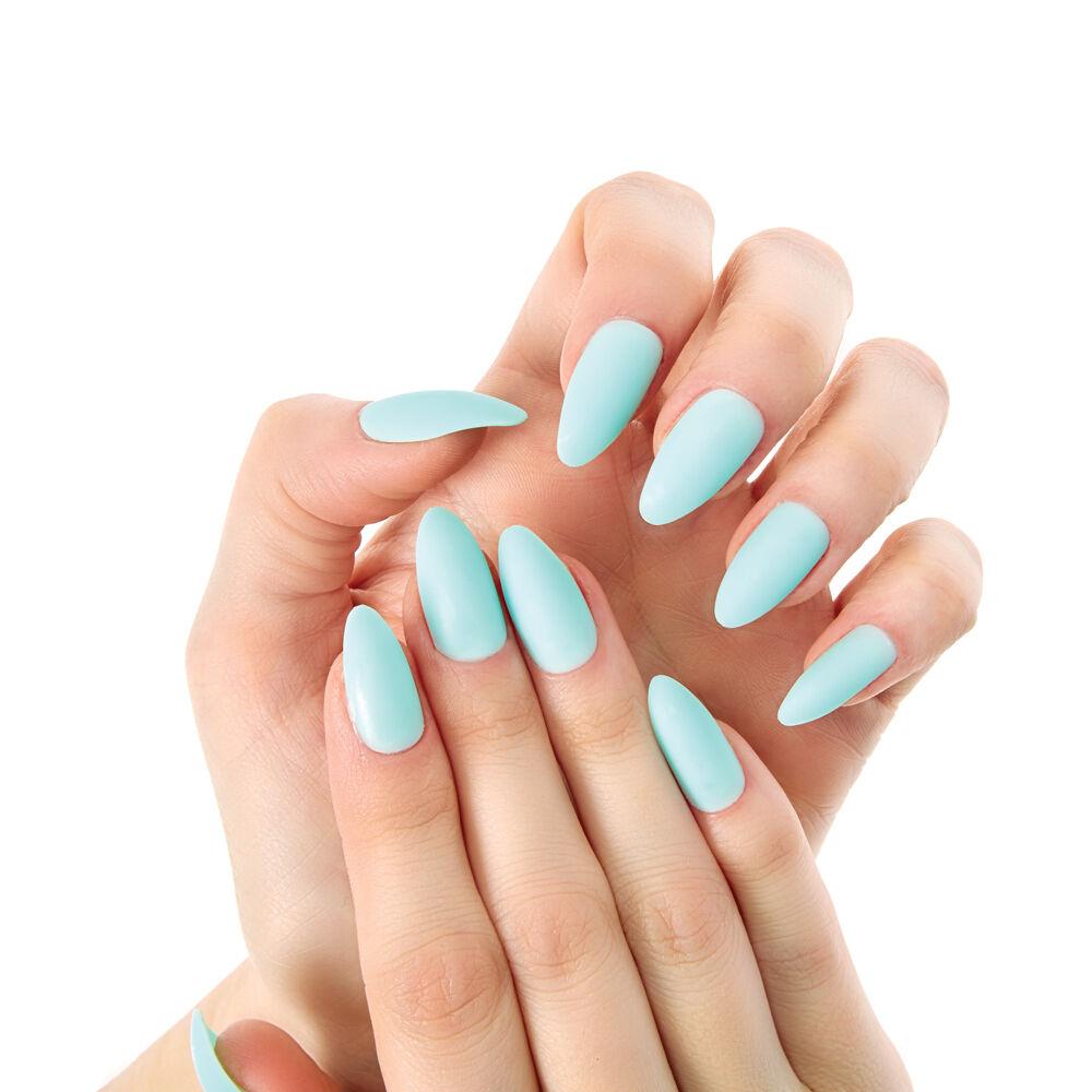 mint matte stiletto instant nails