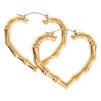 Gold Tone Heart Shaped Bamboo Hoop Earrings | Icing US