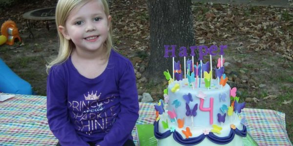 Birthday girl with butterfly cake