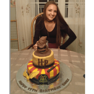 Emily with Harry Potter cake