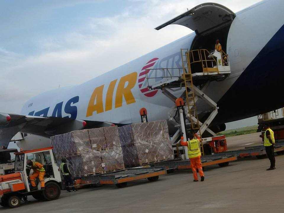 The Boeing 747 cargo plane arrived Abuja on Sunday with N408m ($1.3m) worth of relief materials for IDPs in Borno state. Photo: UNICEF Nigeria