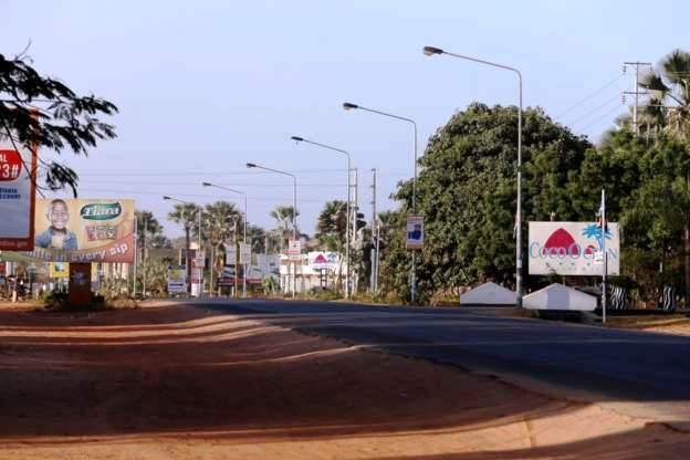 Streets in The Gambia are empty