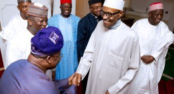 PHOTOS: Buhari all smiles as he receives governors in London