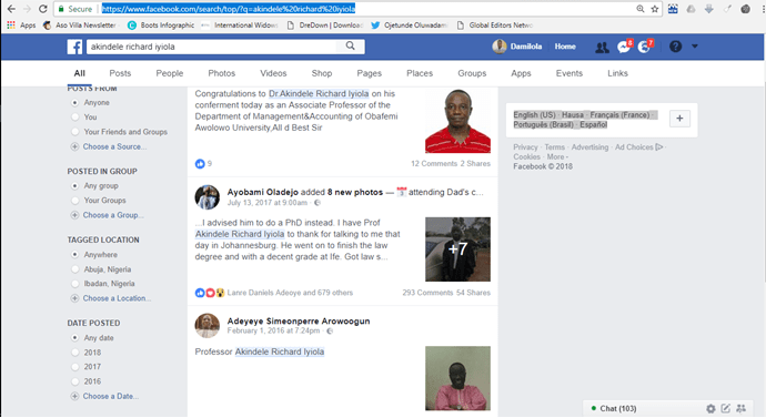 Akindele, 'randy' OAU professor, deactivates Facebook account