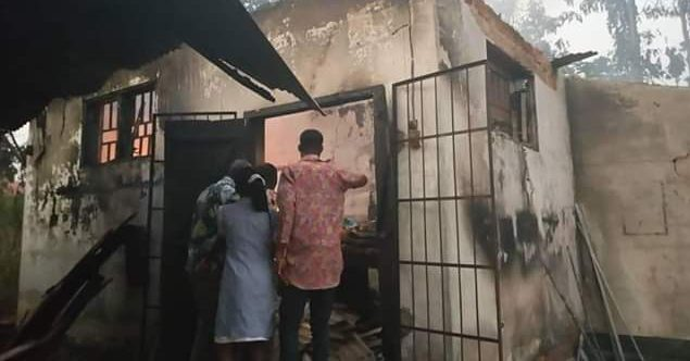 Image of the hospital being damaged after the fire incident. Photo credit: Nairaland