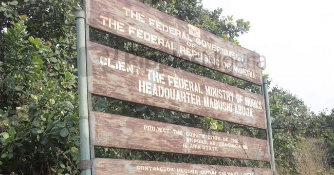 A sign post of the project commissioned in 2012. Photo by Patrick Egwu