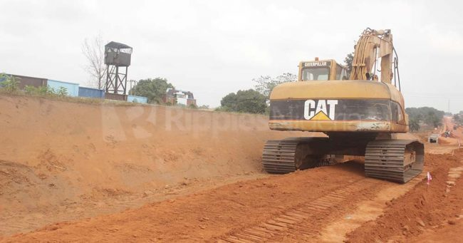 A tractor at the site, levelling the ground. Phot by Patrick Egwu