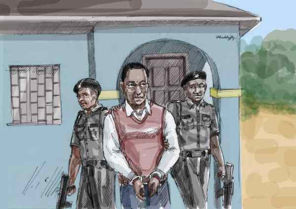 """Sketch illustrating the arrest of 34 year old Chris Chom who was detained for nearly two years for ""a failed attempt to save his nephew's life"""