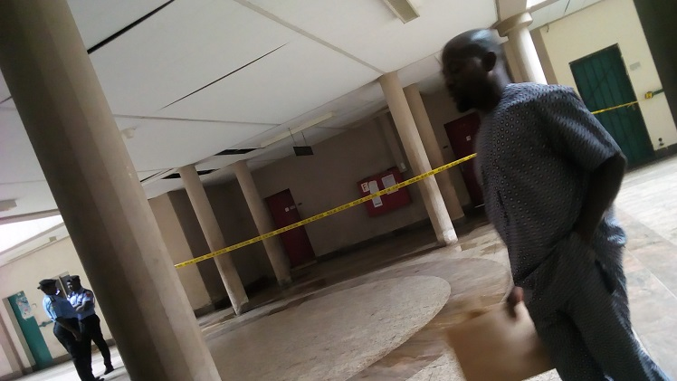 """""""Police Line-Do Not Cross"""" : toilets on the ground floor unsafe. Photo credit: Rebecca Akinremi/ICIR October 24."""