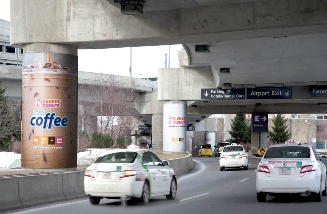 ICL printed and wrapped these concrete columns at Logan Airport