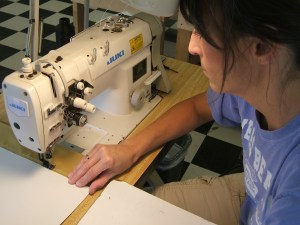 Table Drape being Stitched