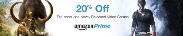 Amazon is Now Offering Prime Customers 20% Off Pre-Order and New Release Video Games