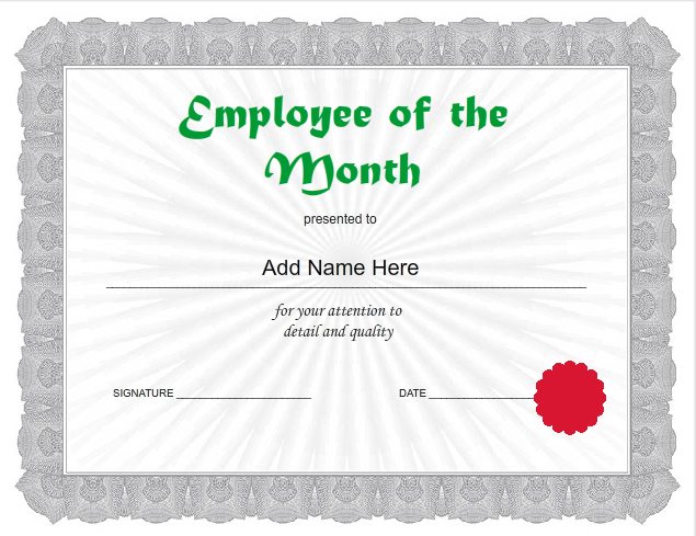 employee of the month certificates templates