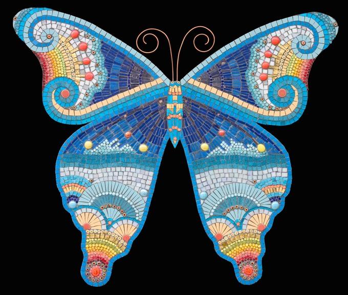 yellow kitchen rug towel butterfly | irina charny mosaics