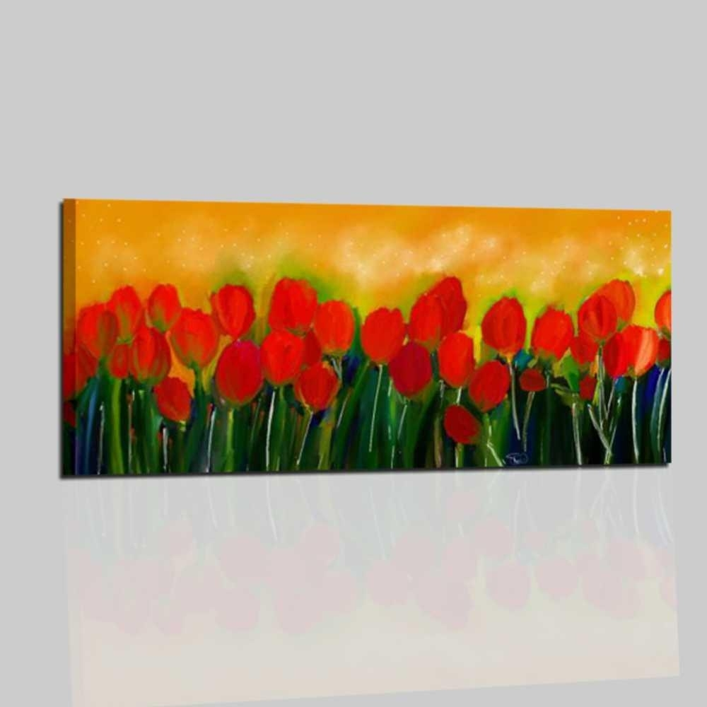 Quadri moderni dipinti a mano con fiori  TULIPANI