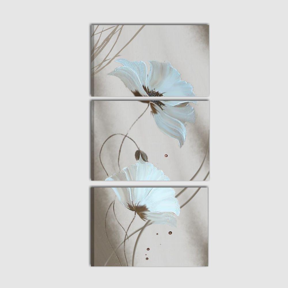 Quadro trittico verticale con raffigurazione di fiori