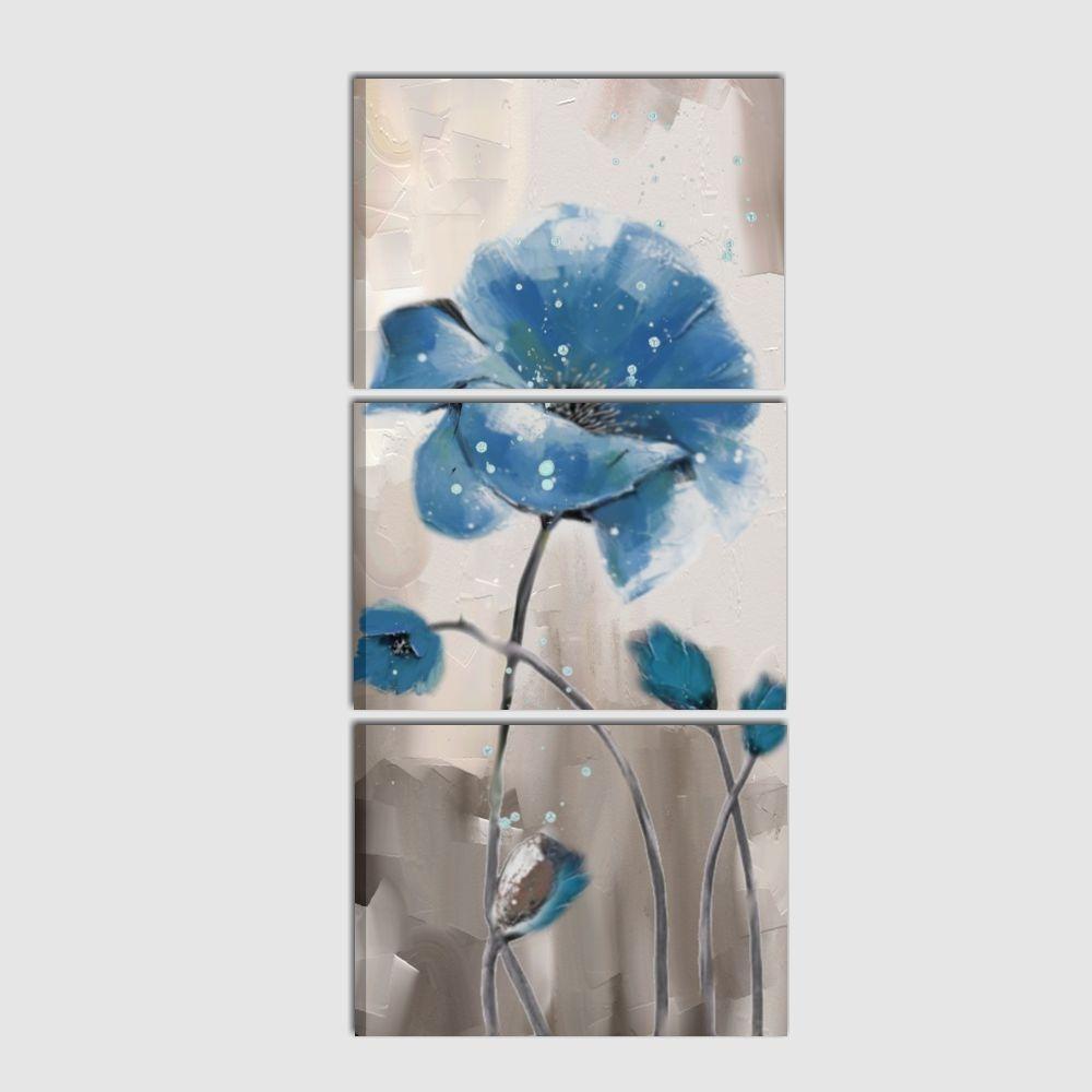 Quadro dipinto a mano verticale su tela trittico con fiori