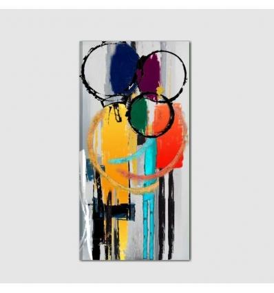 Poi, una scia di giallo e rosso, come una meteora cheattraversa il quadro,. Vendita Online Di Quadri Moderni Astratti Ed Etnici Dipinti A Mano I Colori Del Caribe