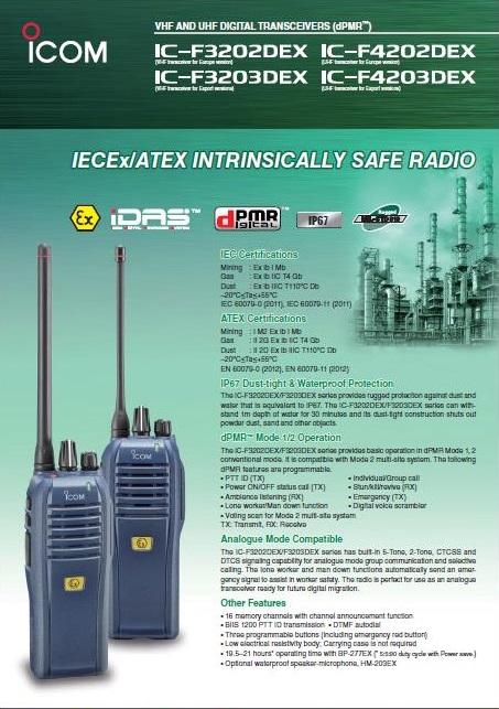 Icom IC-F3202DEX VHF-Handfunkgerät (136-174 MHz). 1 W. IP67. ATEX