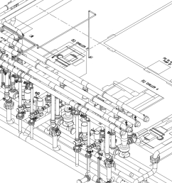 computer aided design cad showing a process chilled water system and other related equipment [ 2000 x 1000 Pixel ]