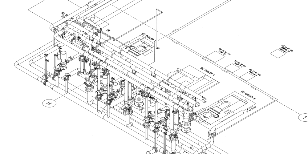 medium resolution of computer aided design cad showing a process chilled water system and other related equipment