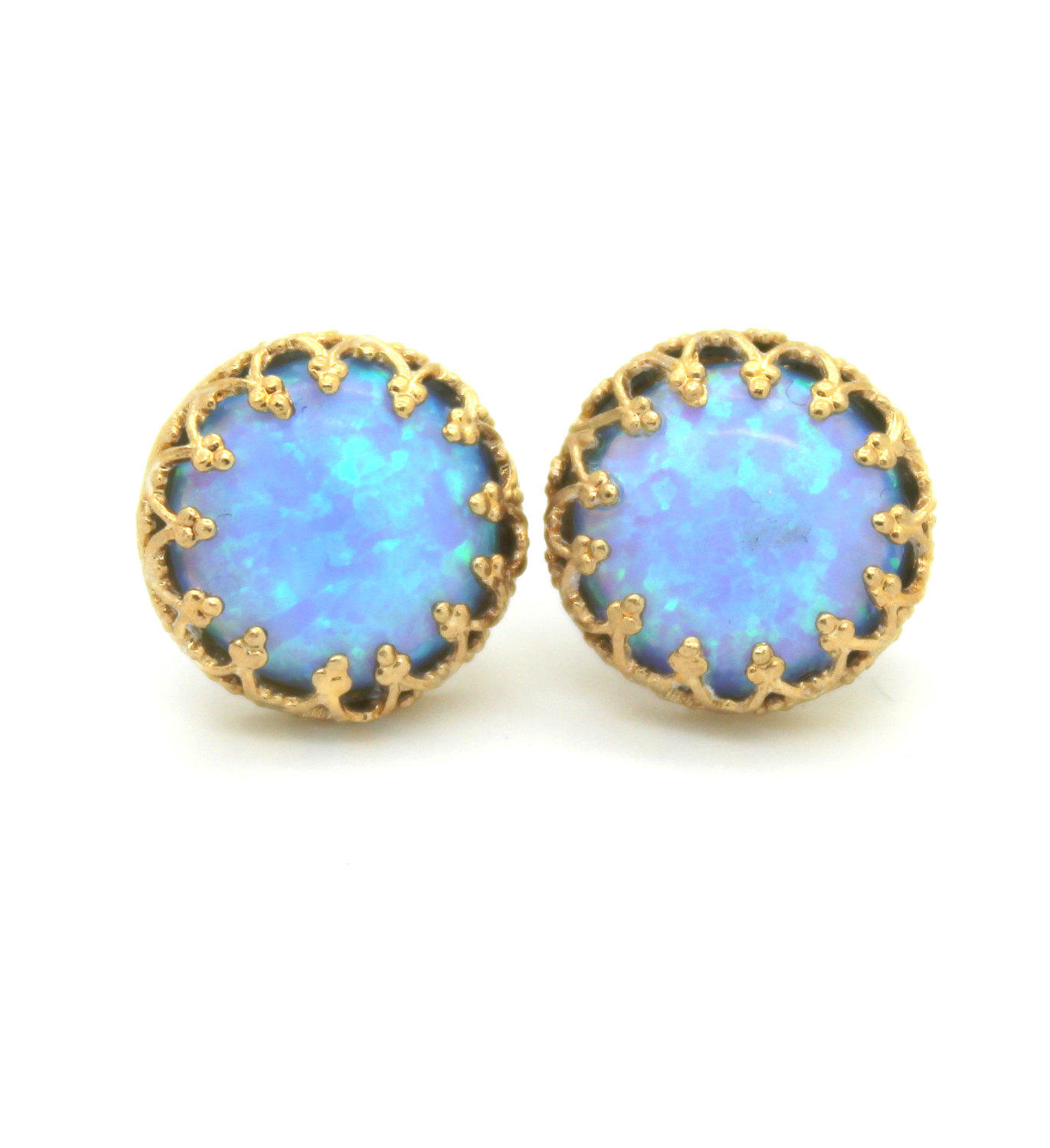 Hand Crafted 14k Yellow Gold Filled Stud Earrings With