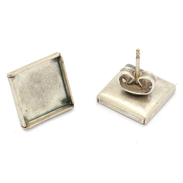 5 Pairs 10mm Square flat back stud earrings base for