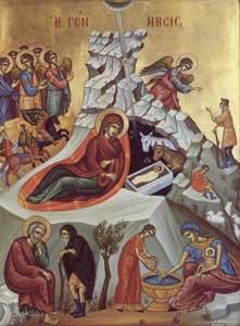Icone de la Nativite, faite à  Patmos, monastère de l'Evangelismos