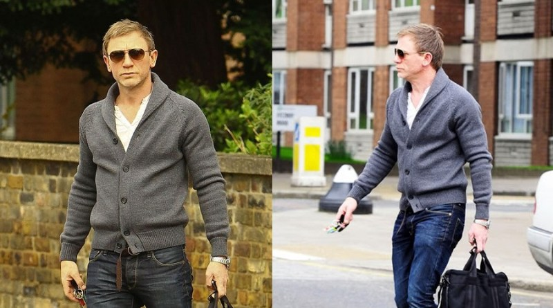 affordable alternatives Daniel Craig Esquire 2011 Grey Shawl Collar Cardigan