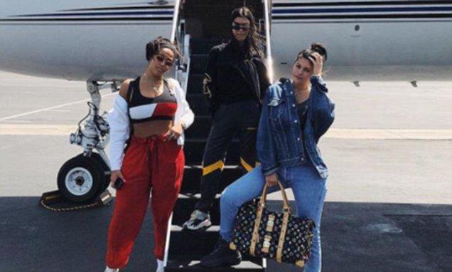 Kylie and Kourtney Kardashian Ride a PRIVATE PLANE to Coachella! image