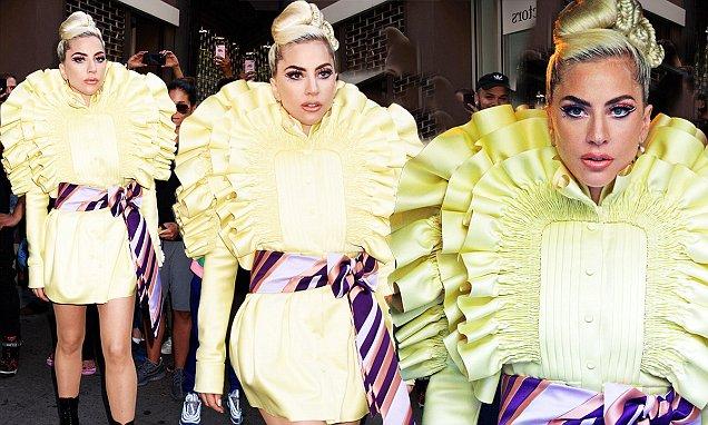 Lady Gaga Wears BRIGHT Yellow While Leaving Recording Studio image