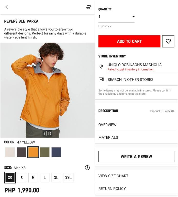 UNIQLO Online Store - Add to Cart