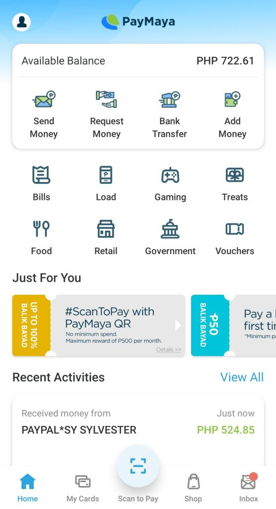 Transfer From Paypal To Paymaya - Recent Activities