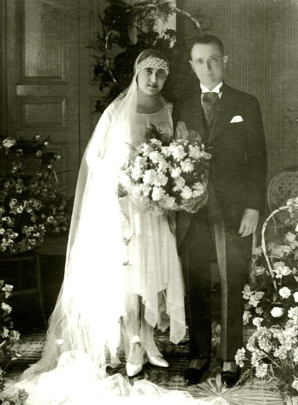 Maria Alonzo e Domenico Nicosia nel giorno del matrimonio. 1928