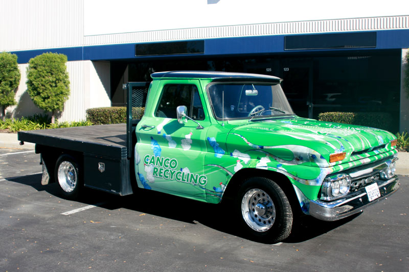 Stake Bed Truck Wrap for Market Recycling  Long Beach ca