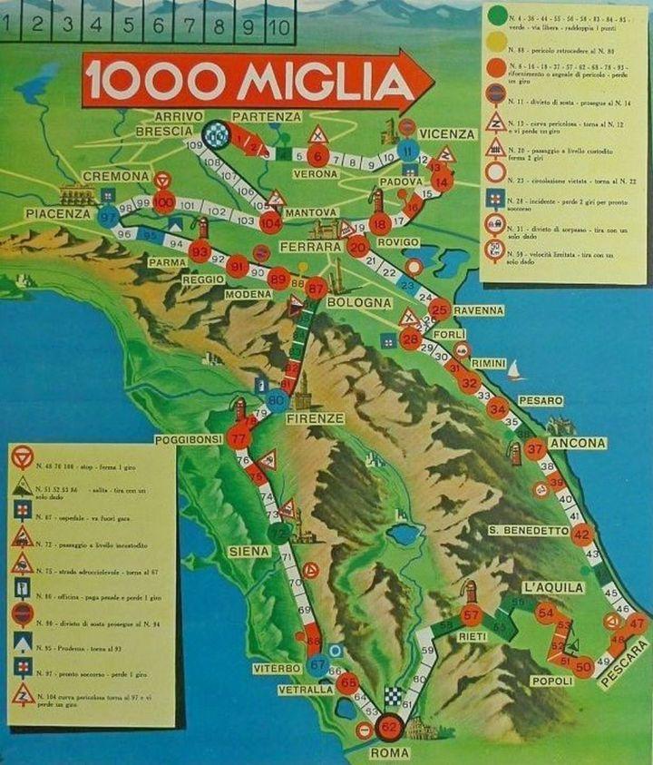 El recorrido de la Mille Miglia variaba de un año a otro pero salvo en 1940 siempre fue Brescia-Roma -Brescia