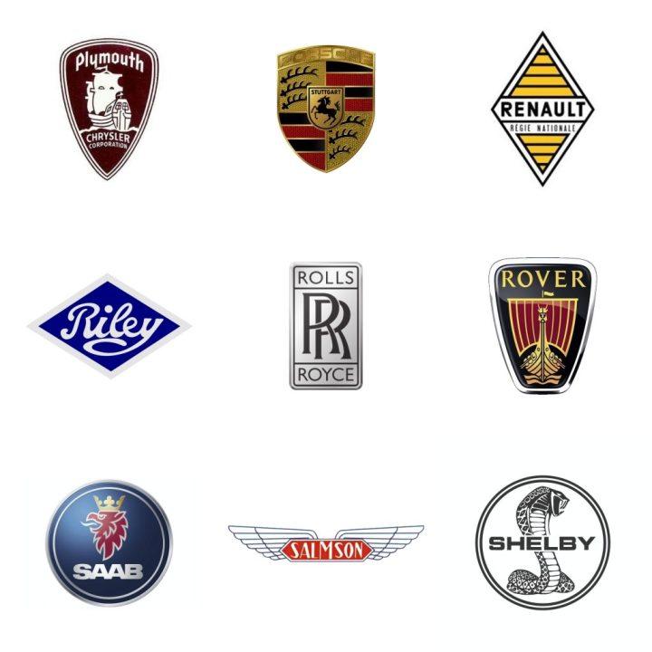 Logos: Plymouth (EEUU, 1928-2001) - Porsche (Alemania, 1947) - Renault (Francia, 1898) - Riley (GB, 1896) - Rolls-Royce (GB, 1904) - Rover (GB, 1878-2005) - Saab (Suecia, 1945-2012) - Salmson (Francia, 1912-57) - Shelby (EEUU, 1962)