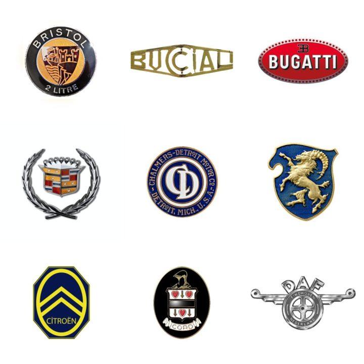 Logos: Bristol (GB, 1946-2020) - Bucciali (Francia, 1922-32) - Bugatti (Francia, 1909-63) - Cadillac (EEUU, 1902) - Chalmers (EEUU, 1908-24) - Cisitalia (Italia, 1943-63) - Citroën (Francia, 1919) - Cord (EEUU, 1929-37) - DAF (Países Bajos, 1959-76)