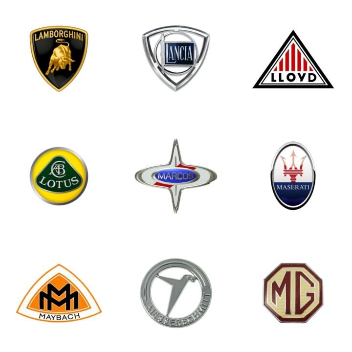 Logos: Lamborghini (Italia, 1963) - Lancia (Italia, 1906) - Lloyd (Alemania, 1908-63) - Lotus (GB, 1952) - Marcos (GB, 1959-2007) - Maserati (Italia, 1914) - Maybach (Alemania, 1909) - Messerchmitt (Alemania) - MG (Gran Bretaña, 1924)