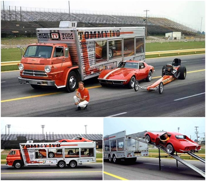 Dodge A100 cargado con dos Dragster y un Corvette Stingray | Tommy Ivo