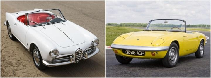 Alfa Romeo Giulietta/Giulia Spider: 27.437 unidades entre 1955 y 1965 | Bonhams / Lotus Elan: 12.224 unidades entre 1962 y 1973