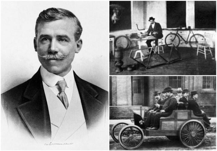 Alexander Winton, a la derecha captado en la oficina de su fábrica de bicicletas y a los mandos de un automóvil.