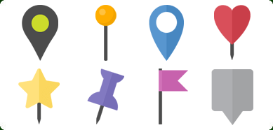 flat map markers icons